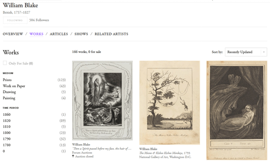 William Blake at Artsy.net – A Usable Interface!